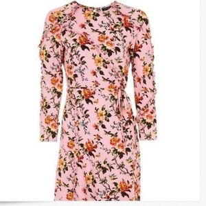 Topshop Sheer Chiffon Lined pink floral  dress